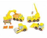 LE TOY VAN Zestaw drewnianych pojazdów budowlanych