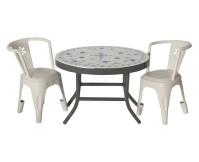 MAILEG Metalowy stolik kawowy z 2 krzesłami - biały