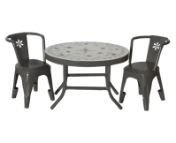 MAILEG Metalowy stolik kawowy z 2 krzesłami - szary
