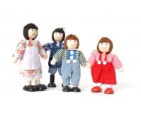 TIDLO Drewniane lalki - czteroosobowa rodzinka farmerów