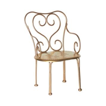 MAILEG Metalowe romantyczne Krzesełko złote - Vintage