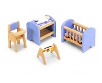 """PINTOY Drewniane mebelki do domku dla lalek """"Pokój niemowlęcy"""""""