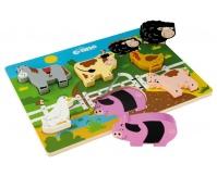 TIDLO Drewniane grube puzzle - Farma