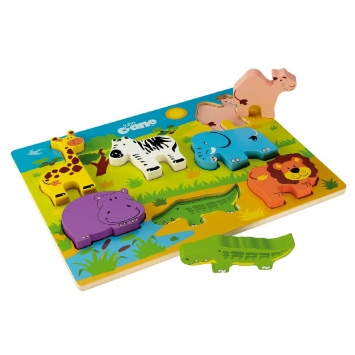 TIDLO Drewniane grube puzzle - Safari