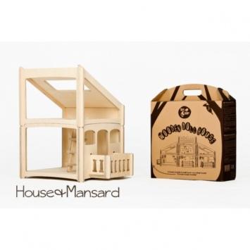 DIP DAP Drewniany domek dla lalek z balkonem i poddaszem