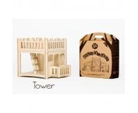DIP DAP Drewniany domek dla lalek wieża z balkonem