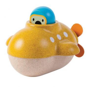 PLAN TOYS Drewniana łódź podwodna, zabawka do kąpieli