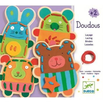DJECO Drewniane sznurowanki - kolorowe zwierzaki