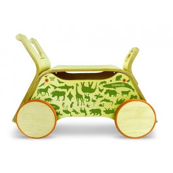 WEEROL 3w1 Drewniany wózek, jeździk i taczka - Animals