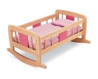 PINTOY Drewniane łóżeczko - kołyska dla lalek