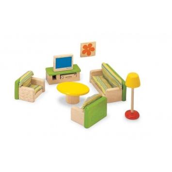 """PINTOY drewniane mebelki do domku dla lalek """"Salon"""""""