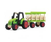 PINTOY Drewniany traktor z wozem