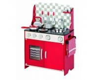 TIDLO Drewniana kuchnia czerwona z akcesoriami