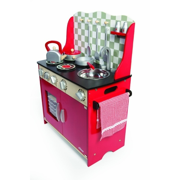 Piękna drewniana kuchnia dla dzieci w kolorze czerwonym marki Tidlo -> Drewniana Kuchnia Z Akcesoriami Howa