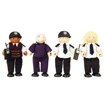PINTOY Drewniane figurki policjantów oraz więźnia - 4 szt