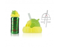 PACIFICBABY Bidon termiczny zielony 200ml z żółtym ustnikiem słomką