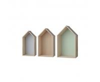 BLOOMINGVILLE Półeczka domek - zestaw 3 szt (miętowa, błękitna, naturalna)