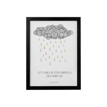 BLOOMINGVILLE Obrazek w ramce Chmurka z kolorowym deszczem