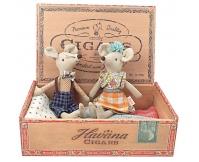 MAILEG Rodzina Myszek w pudełku po cygarach - mama i tata