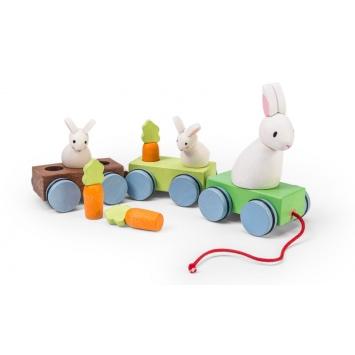 LE TOY VAN Drewniany pociąg z króliczkami do ciągnięcia