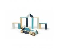 TEGU Drewniane klocki magnetyczne zestaw 42 elementy z kołami BLUES