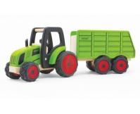 PINTOY Drewniany traktor z przyczepą - duży
