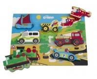 TIDLO Drewniane grube puzzle - Pojazdy