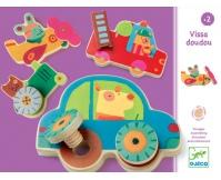 DJECO Drewniane puzzle wkrętki - Pojazdy