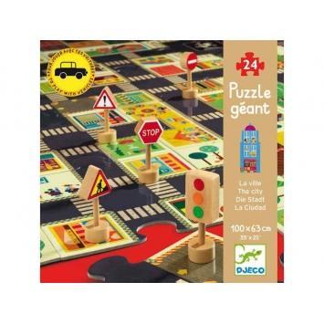 DJECO Puzzle ulice w mieście ze znakami drogowymi