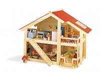 PINTOY Drewniany domek z mebelkami i rodzinką lalek