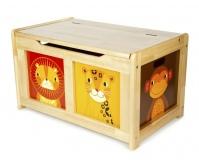TIDLO Drewniana skrzynia na zabawki