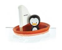 PLAN TOYS Żaglówka z pingwinem- zabawka do kąpieli