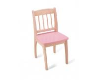 PINTOY Drewniane krzesełko Junior - różowe