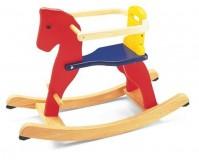 PINTOY Czerwony drewniany konik na biegunach
